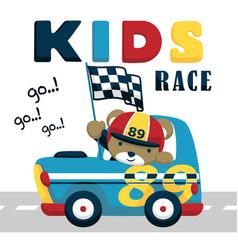 Race car cartoon with funny driver vector