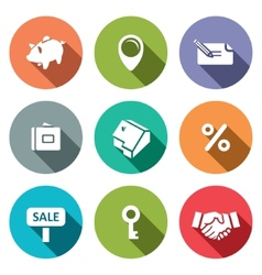 Real Estate Deal flat icon collection vector