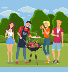 rest in countryside people grill barbecue men vector image
