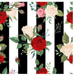 roses seamless pattern background floral decor vector image