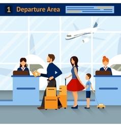 Scene In Airport Departure Area vector