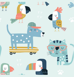 seamless childish pattern with cute pets vector image