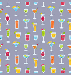 seamless pattern with drinks in glasses with cute vector image