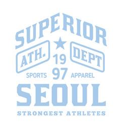 seoul sport t-shirt design vector image