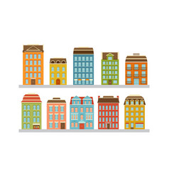 set modern multi-storey buildings residential vector image