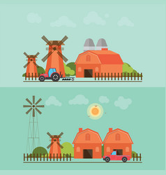 Set of agriculture farmhouse with wind mill vector