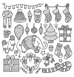 set of doodle christmas and winter elements vector image