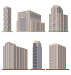 Set of six modern high-rise building vector