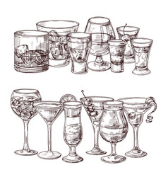set sketched alcoholic drinks vector image
