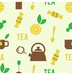 Simple Tea Concept in Seamless Pattern vector image