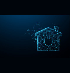smart home icon from lines triangles and particle vector image