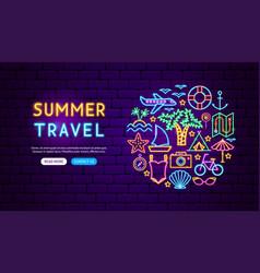 Summer travel neon banner design vector