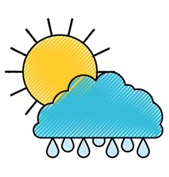 Sun and cloud with drops rain colored crayon vector