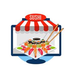 Sushi order online vector