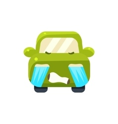 Tearful Green Car Emoji vector image