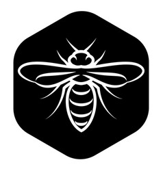 Template for emblem with white bee on black vector
