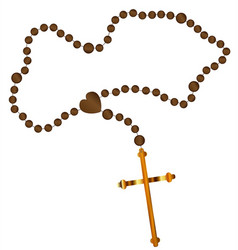 The rosary beads with golden cross vector