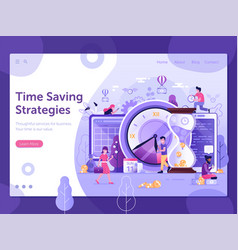 time saving strategy web banner template design vector image