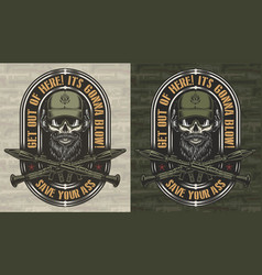 Vintage colorful military and army label vector