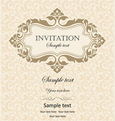 vintage invitation with ornament and place vector image