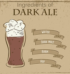 Vintage of card with recipe of dark ale vector