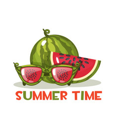 Watermelon and glasses hello summer time vector