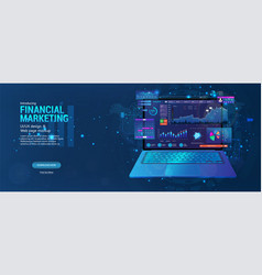 web page - financial marketing with laptop and vector image