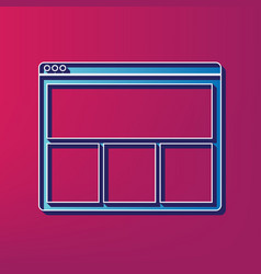 web window sign blue 3d printed icon on vector image