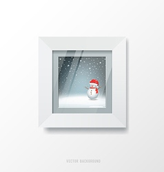 White frame and merry christmas picture vector image