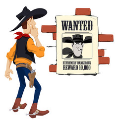 wild west world cowboy next to wanted poster vector image