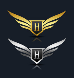 Wings shield letter h logo template vector