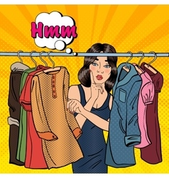 Woman Choosing Clothes in her Wardrobe vector image