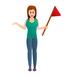 Woman start excursion icon cartoon style vector