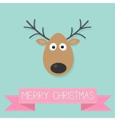 Cute cartoon deer with horn Merry christmas vector image vector image