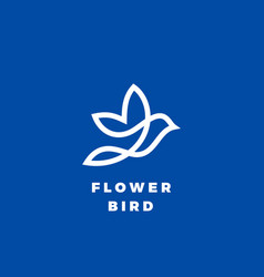 flower bird abstract icon label or logo vector image