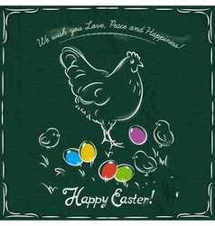 hen and easter colored eggs on green background vector image vector image