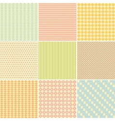 Set of nine geometric seamless patterns vector image