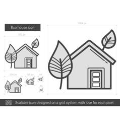 Eco house line icon vector