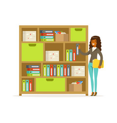 Young businesswoman standing in the office over vector