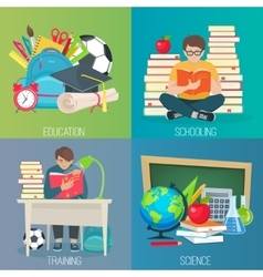 Back to school education banner set vector image