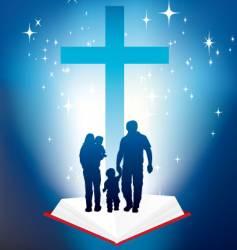 Bible light book family vector