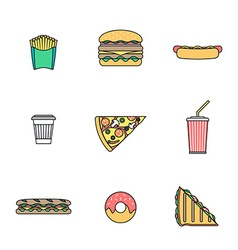 colored outline various fast food icons collection vector image vector image