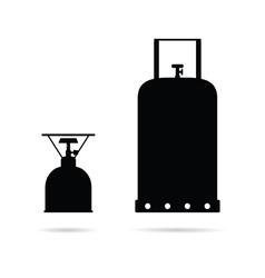 Gas cylinder set in black color art vector