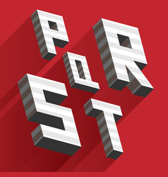 isometric letters p q r s t drawn with stripes and vector image