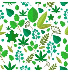 Seamless stylized green leaf pattern background vector image