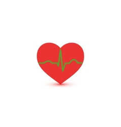 Abstract green and red ecg heart icon vector image