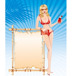 beautiful girl in bikini with cocktail vector image