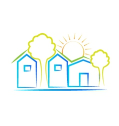 Houses tree and sun logo vector image vector image