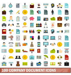 100 company document icons set flat style vector