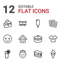 12 sweet icons vector image
